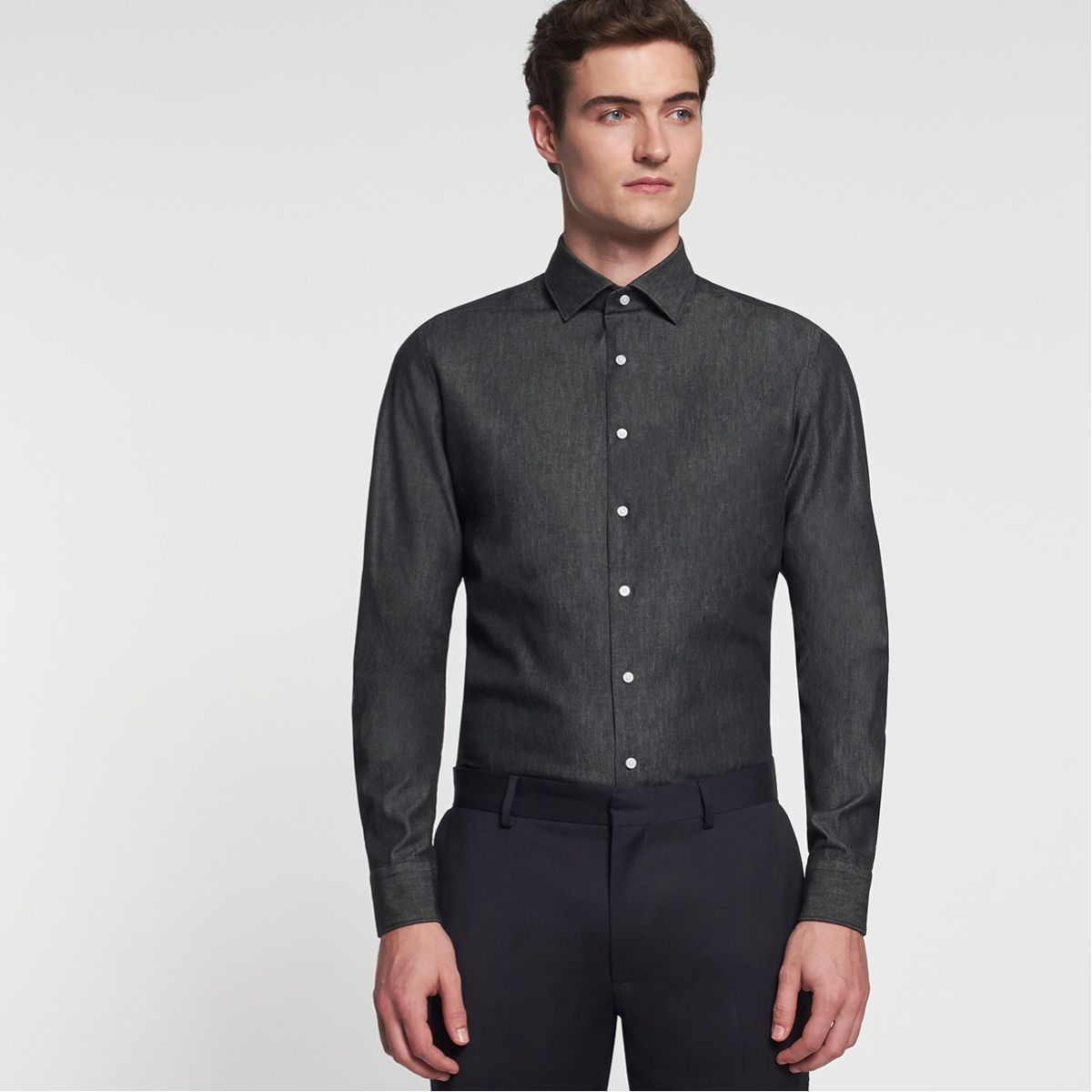 Chemise slim Printed denim anthracite