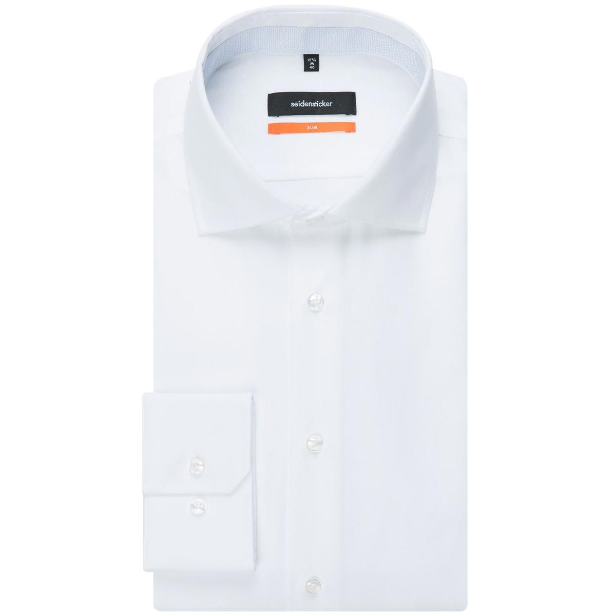 Chemise slim Printed blanche structurée