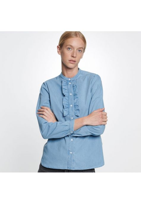 Chemisier denim bleu tendre col mao