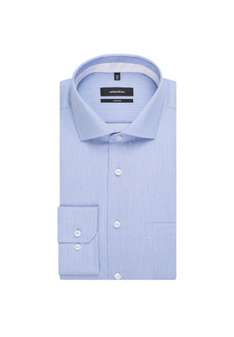 Chemise confort fines rayures bleu ciel twill