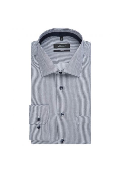 Chemise confort fines rayures bleu marine twill