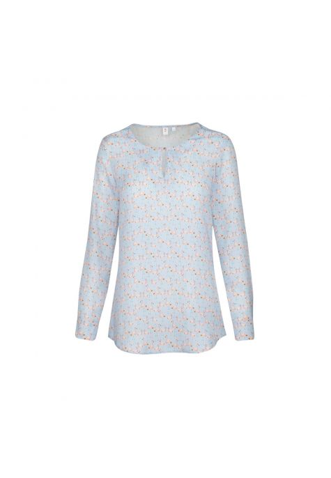 Chemisier bleu ciel motif flamants roses