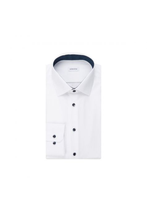 Chemise extra-slim blanche boutons contrastés