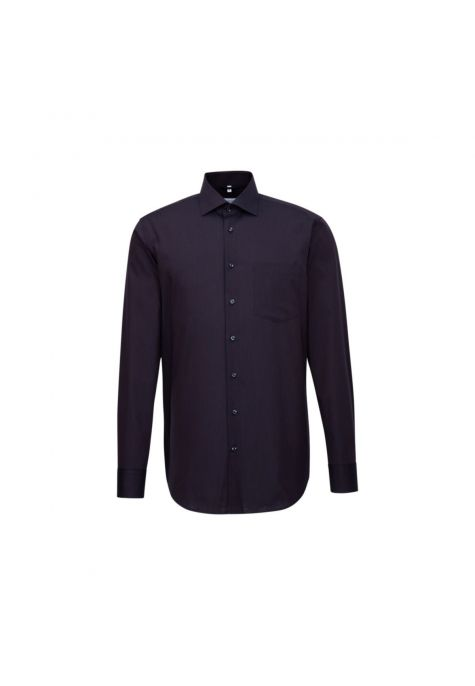 Chemise droite bleu marine fine rayure cannelle