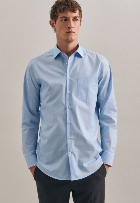 Chemise droite fines rayures milleraies turquoise
