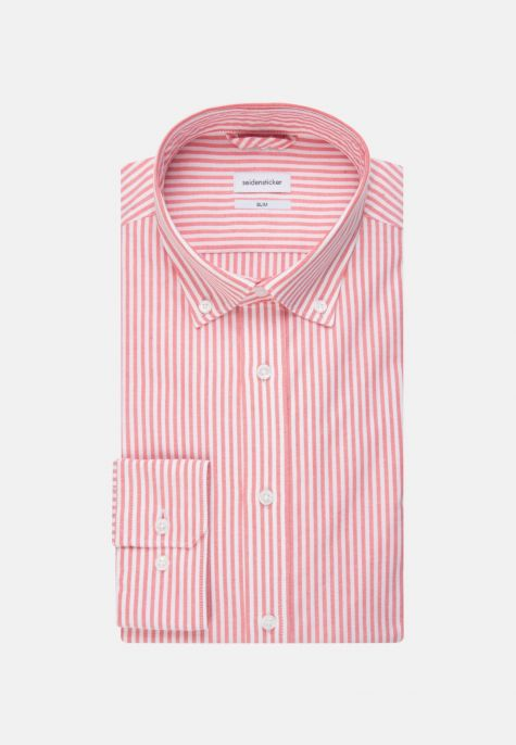 Chemise slim rayure rouge oxford