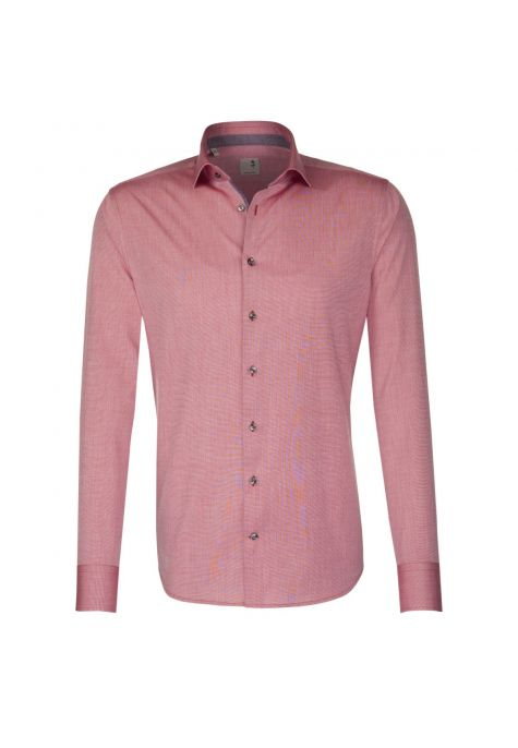 Chemise Rose Noire rouge chambray col semi-italien