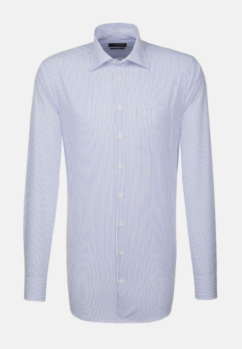 Chemise droite rayures bleues manches extra-longues