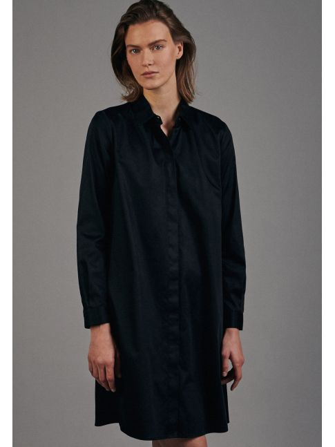 Robe-chemisier noire coton stretch