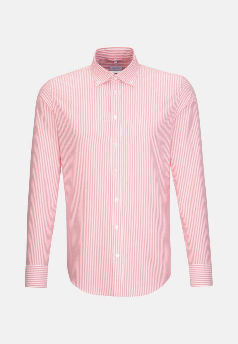 Chemise droite rayure rouge oxford
