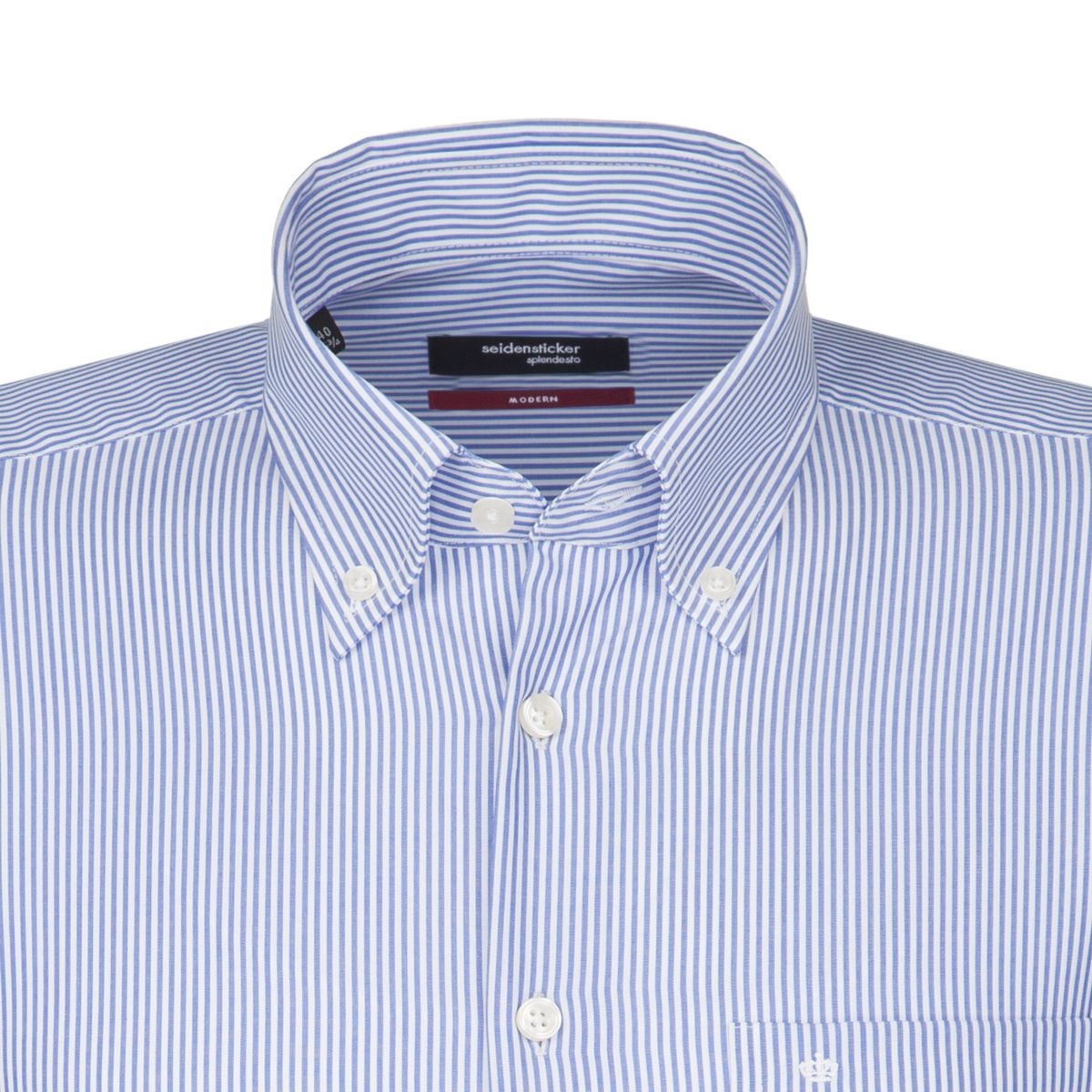 Chemise MODERN rayures Bengale bleues col boutonné