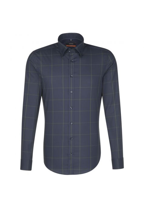 Chemise slim bleu marine grand carreau