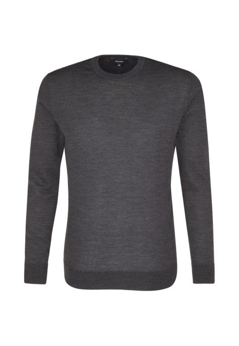Pull Mérinos col rond gris anthracite